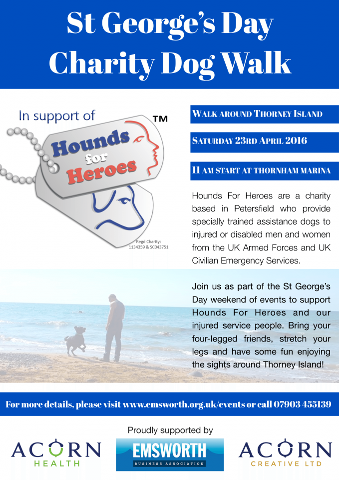 Military veterans charity dog walk hounds heroes petersfield hampshire emsworth thorney chiropractic dogs walking walker walks hiking hikers hike exercise fitness charity St george